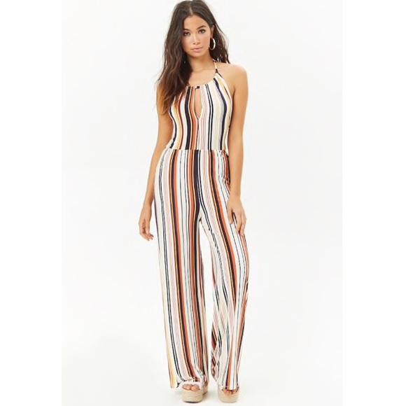 8d04ab420538 Forever 21 Striped Halter Jumpsuit Romper Bodysuit